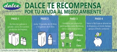 DALCE DEL CENTRO te recompensa por colaborar con tus garrafas recicladas.